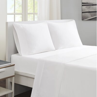 Felicien Cotton and Coolmax Sheet Set Size: Queen, Color: White