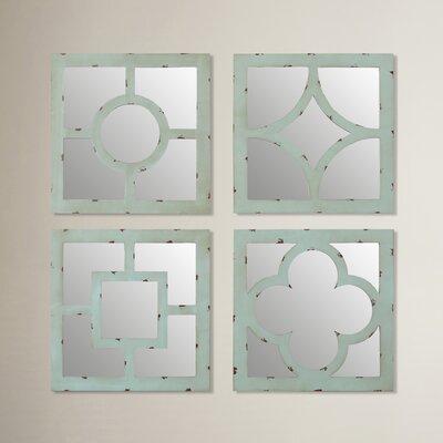 4 Piece Lutie Mirror Set Finish: Blue/Green