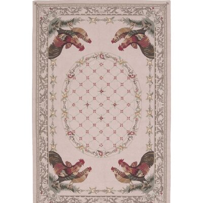 Grand View Hand-Hooked Beige Area Rug