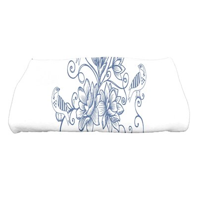 Grovetown Five Little Birds Floral Bath Towel Color: Blue