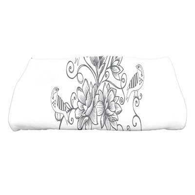 Grovetown Five Little Birds Floral Bath Towel Color: Gray