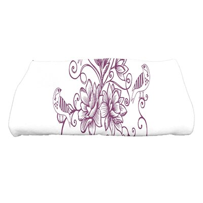 Grovetown Five Little Birds Floral Bath Towel Color: Purple