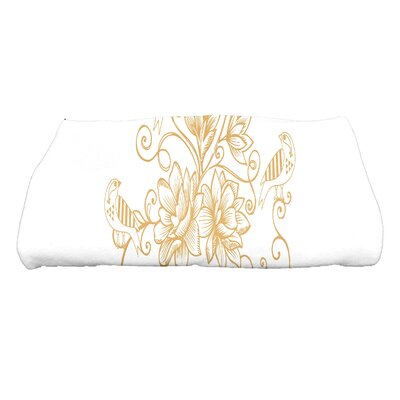 Grovetown Five Little Birds Floral Bath Towel Color: Gold