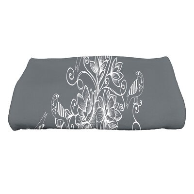 Cecilia Morning Birds Floral Bath Towel Color: Gray