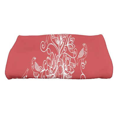 Cecilia Morning Birds Floral Bath Towel Color: Coral