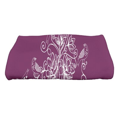 Cecilia Morning Birds Floral Bath Towel Color: Purple
