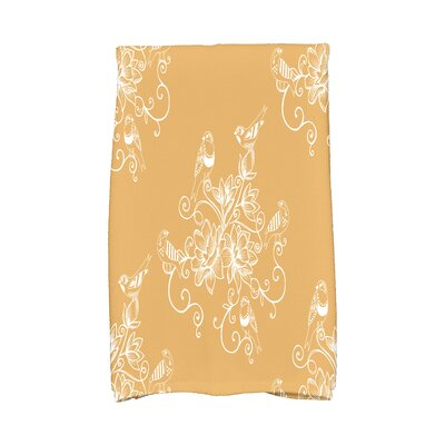 Cecilia Morning Birds Floral Bath Towel Color: Gold