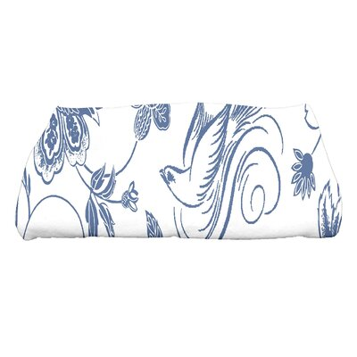 Cecilia Traditional Bird Floral Bath Towel Color: Blue