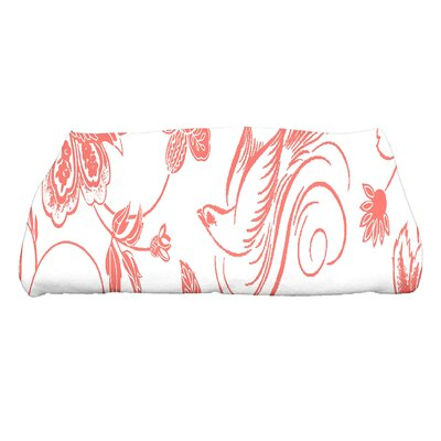 Cecilia Traditional Bird Floral Bath Towel Color: Coral