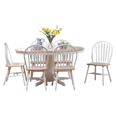 Gennevilliers 7 Piece Dining Set Finish: White / Natural