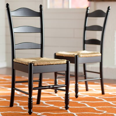 Gennevilliers Ladder Back Solid Wood Dining Chair Finish: Black