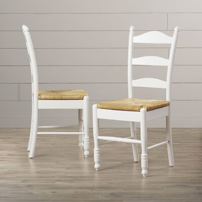 Gennevilliers Ladder Back Solid Wood Dining Chair Finish: White