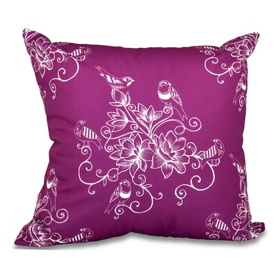 Grovetown Morning Birds Floral Print Throw Pillow Size: 16 H x 16 W, Color: Purple