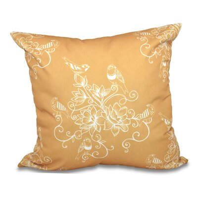 Grovetown Morning Birds Floral Print Throw Pillow Size: 18 H x 18 W, Color: Gold