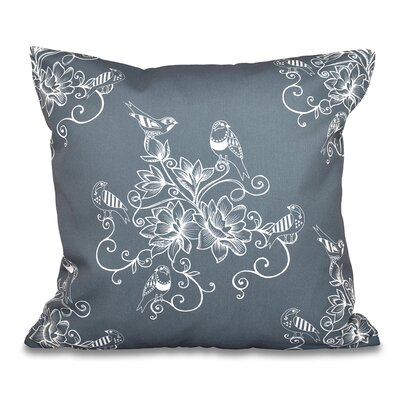 Grovetown Morning Birds Floral Print Throw Pillow Size: 16 H x 16 W, Color: Gray
