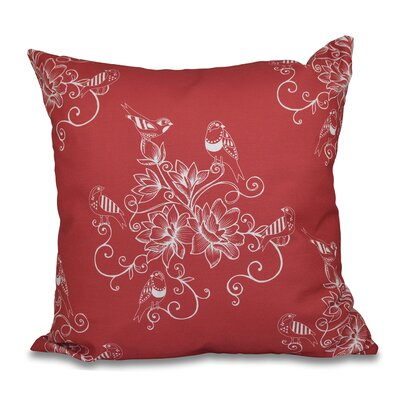 Grovetown Morning Birds Floral Print Throw Pillow Size: 18 H x 18 W, Color: Coral