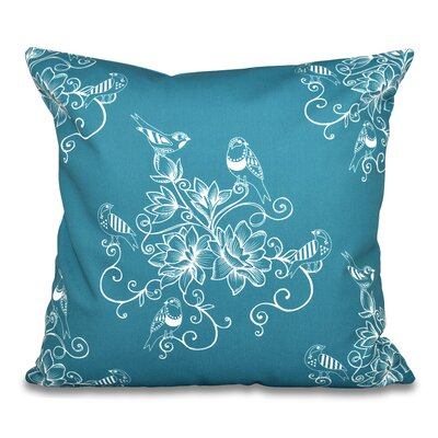 Grovetown Morning Birds Floral Print Throw Pillow Size: 18 H x 18 W, Color: Teal