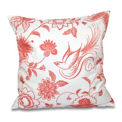 Grovetown Traditional Bird Throw Pillow Size: 18 H x 18 W, Color: Coral
