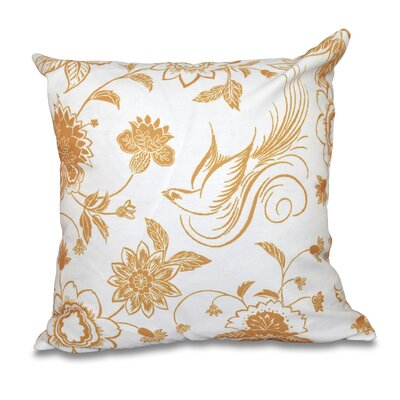 Grovetown Traditional Bird Floral Print Throw Pillow Size: 16 H x 16 W, Color: Gold