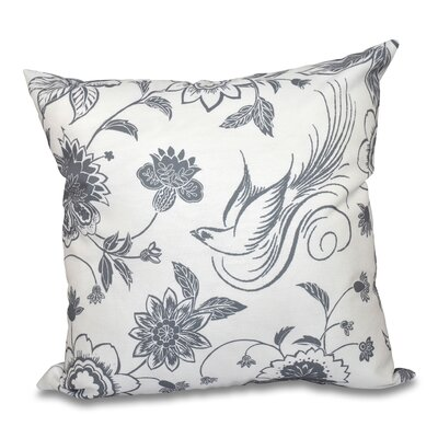 Grovetown Traditional Bird Floral Print Throw Pillow Size: 18 H x 18 W, Color: Gray