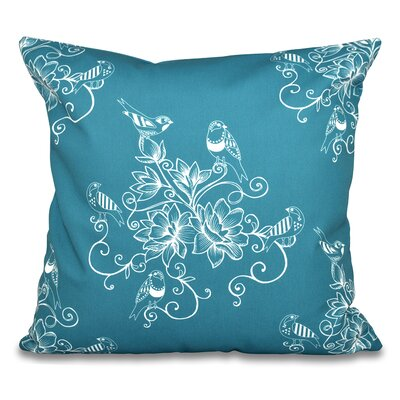 Grovetown Morning Birds Floral Outdoor Throw Pillow Size: 18 H x 18 W, Color: Teal
