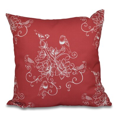 Grovetown Morning Birds Floral Outdoor Throw Pillow Size: 18 H x 18 W, Color: Coral