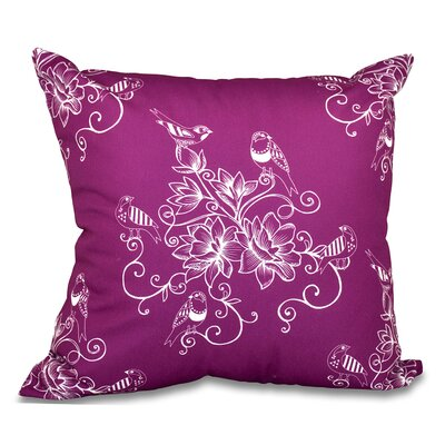 Grovetown Morning Birds Floral Outdoor Throw Pillow Size: 18 H x 18 W, Color: Purple