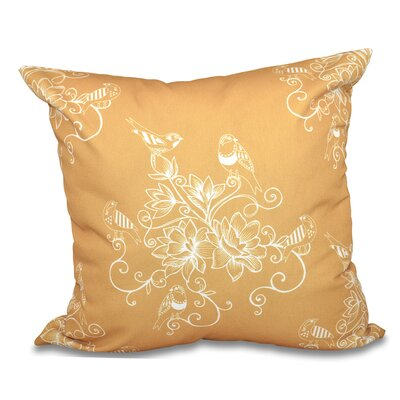 Grovetown Morning Birds Floral Outdoor Throw Pillow Size: 18 H x 18 W, Color: Gold