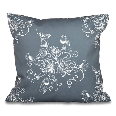 Grovetown Morning Birds Floral Outdoor Throw Pillow Size: 18 H x 18 W, Color: Gray