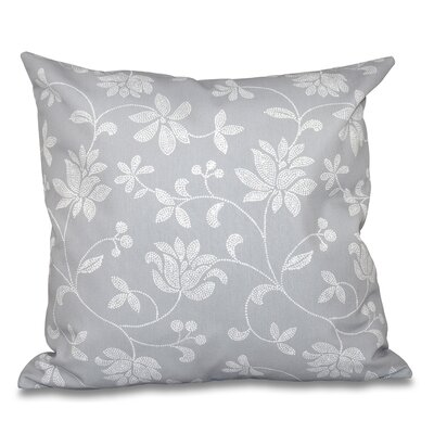 Cecilia Traditional Floral Outdoor Throw Pillow Size: 18 H x 18 W, Color: Gray