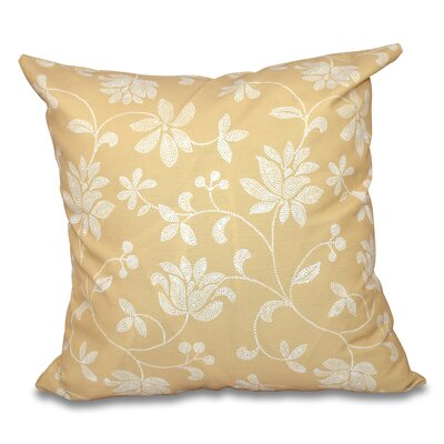 Cecilia Traditional Floral Outdoor Throw Pillow Size: 20 H x 20 W, Color: Gold