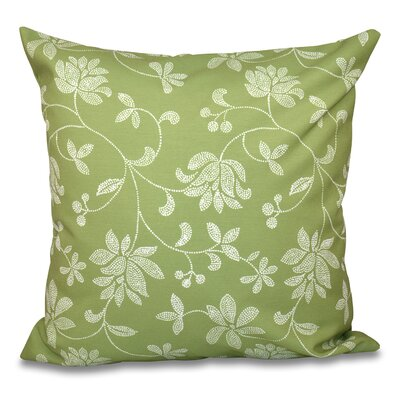 Cecilia Traditional Floral Outdoor Throw Pillow Size: 18 H x 18 W, Color: Green