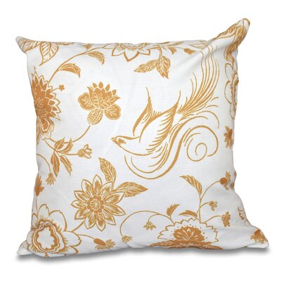 Cecilia Traditional Bird Floral Outdoor Throw Pillow Size: 18 H x 18 W, Color: Gold