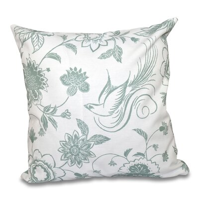 Cecilia Traditional Bird Floral Outdoor Throw Pillow Size: 18 H x 18 W, Color: Green