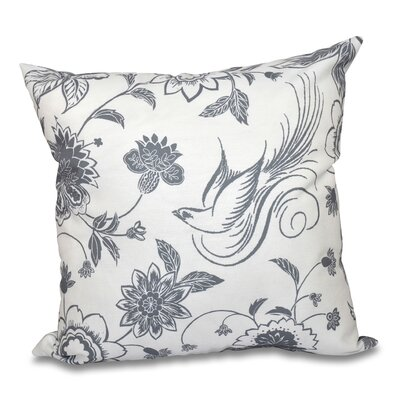 Grovetown Traditional Bird Floral Outdoor Throw Pillow Size: 18 H x 18 W, Color: Gray