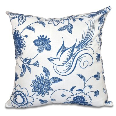 Grovetown Traditional Bird Floral Outdoor Throw Pillow Size: 18 H x 18 W, Color: Blue