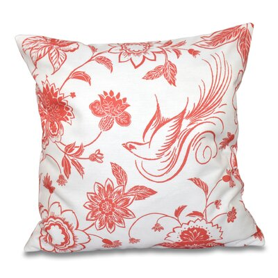 Grovetown Traditional Bird Floral Outdoor Throw Pillow Color: Coral, Size: 18 H x 18 W