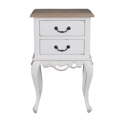 Lirette 2 Drawer End Table Finish: White