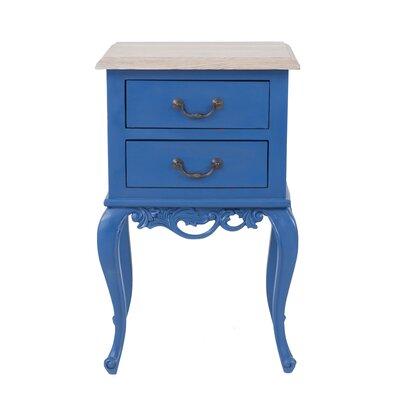 Lirette 2 Drawer End Table Color: Blue