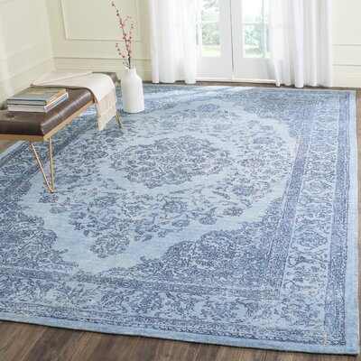 Chelsea Vintage Cotton Blue Area Rug Rug Size: Rectangle 24 x 48