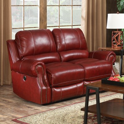 Navarrette Power Motion Leather Reclining Loveseat Upholstery: Wine
