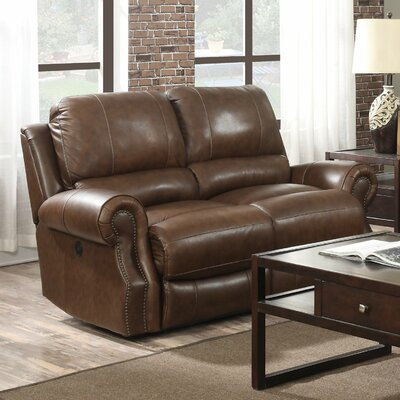 Crete Power Motion Leather Reclining Loveseat Upholstery: Saddle Brown