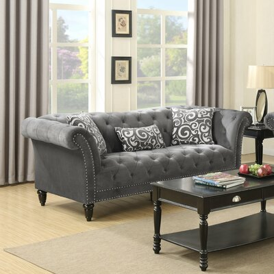 Narcisse Chesterfield Loveseat Upholstery: Slate Gray