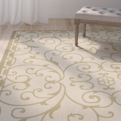 Rhine 6000 Cream/Green Area Rug Rug Size: Rectangle 710 x 10