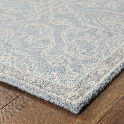 Sirois Hand-Tufted Medallion Gray/Blue Area Rug Rug Size: 36 x 56