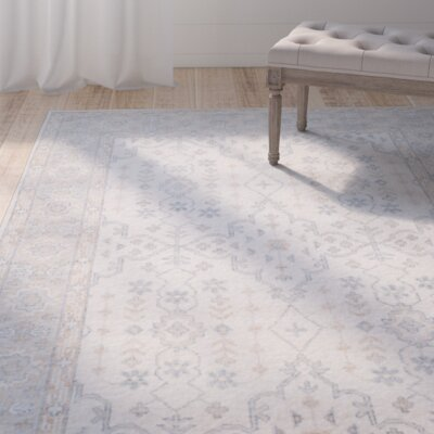 Yassine Hand-Knotted Ivory/Blue Area Rug Rug Size: 9 x 12