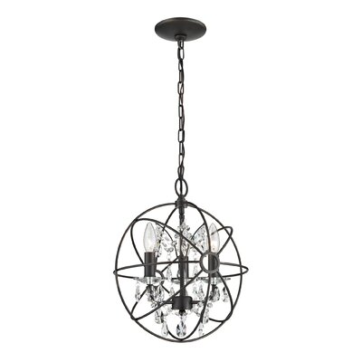 Brunet 3-Light Globe with Crystal Foyer Pendant