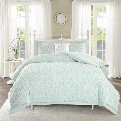 Cherbourg 4 Piece Comforter Set Size: King/California King, Color: Blue