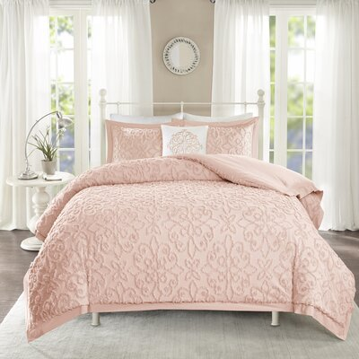 Cherbourg 4 Piece Comforter Set Size: King/California King, Color: Pink
