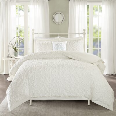 Cherbourg 4 Piece Comforter Set Size: King/California King, Color: White